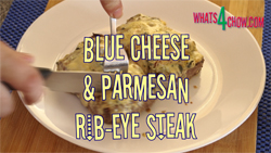 Learn how to cook the perfect ribeye steak, with parmesan crust and blue cheese