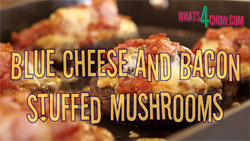 Grilled Mushrooms with Blue Cheese and Bacon