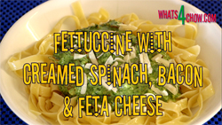 Pasta with creamed spinach, bacon and feta. Creamed spinach recipe.