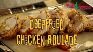 Deepfried Chicken Roulade. Rolled, stuffed chicken quarter, crispy deep-fried to perfection!