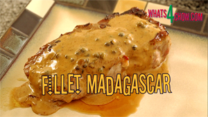 Fillet Madagascar. Ribeye or fillet steak with green peppercorns and an awesome sherry cream sauce!