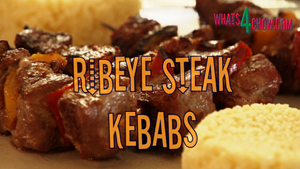 Ribeye Steak Kebabs with Caramelized Peppers & Soy, Garlic, Ginger Marinade - Whats4Chow.com