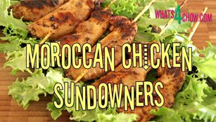 Moroccan Chicken Sundowners. Moroccan chicken wings on skewers. Barbecue Moroccan chicken wings.
