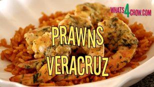 Prawns Veracruz. Prawns with coriander, lime and sour cream. Mexican prawns Veracruz.