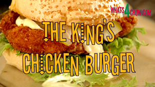 The King's Chicken Burger. Crispy deep-fried deboned chicken thigh burger recipe by Whats4Chow.com