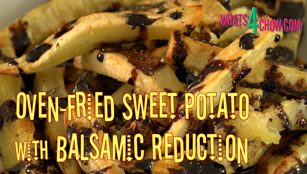 oven-fried sweet potato,how to oven fry sweet potato chips,how to make healthy sweet potatoes in your oven,oven fried sweet potatoes with balsamic reduction,oven baked sweet potato chips,healthy sweet potato chips,how to make make balsamic reduction,how to make balsamic vinegar reduction,how to make balsamic honey reduction, sweet potato fries, how to bake sweet potato fries, how to bake sweet potatoes, oven fried sweet potato fries,Oven-Fried Sweet Potato Chips with Sweet Balsamic Reduction