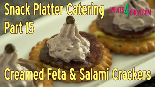 finger foods,finger food recipes,snack foods,snack food recipes,cocktail party recipes,cocktail food recipes,superbowl recipes,creamed feta crackers,creamed feta and salami crackers,snack platter catering recipes,bisuit snack recipes