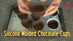 molded chocolate cups,silicone molded chocolate cups,chocolate cups molded in muffin cups,how to mold chocolate cups,making molded chocolate cups at home,homemade chocolate molded cups,how to mold chocolate cups,making chocolate cups,fancy chocolate cups,molding chocolate cups