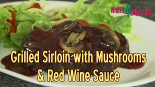 Grilled Sirloin Steak with Portabellini Mushrooms & Red Wine Sauce,how to grill sirloin steak,how to grill tenderloin steak,how to make a uick red wine sauce,how to make red wine sauce using xanthan gum,thick red wine sauce recipe,grilled sirloin recipes,grilled tenderloin recipes,making the perfect steak,how to grill steak in a pan